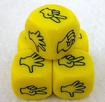 Roshambo dice in yellow with black ink